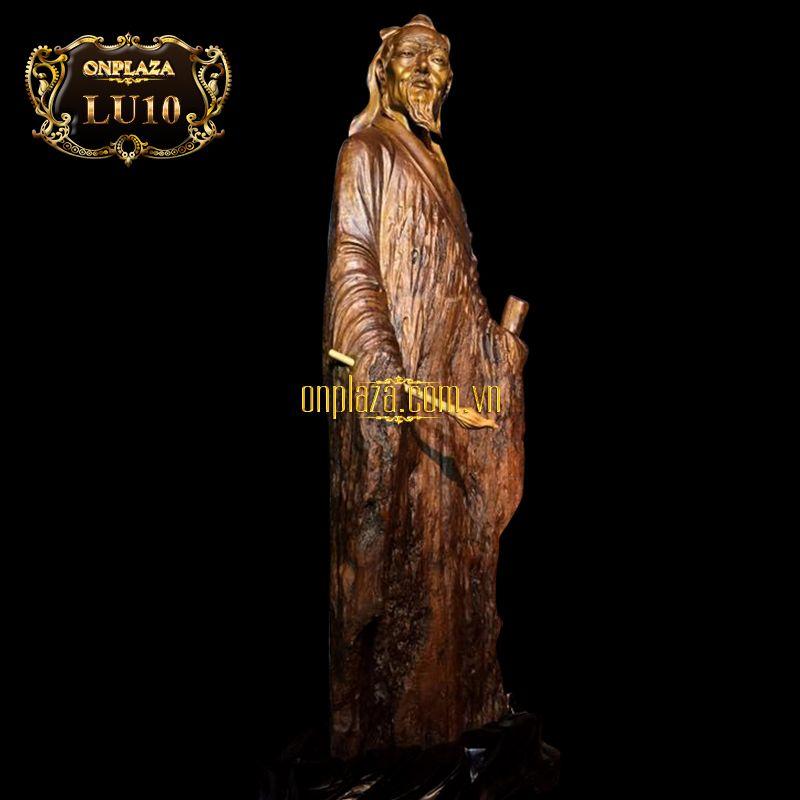 Lũa tượng nhà thư pháp Vương Hy Chi gỗ sụ cao cấp LU10